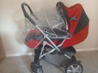 Mamas and Papas Skoot Pram/Pushchair - Red/Black -Excellent Condition & Car seat