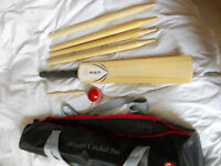 Wooden cricket set - size 5 bat, rubber ball, wooden stumps and bail