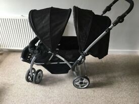 Baby start double pram Comes with rain cover