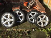 "BMW original 17"" alloy wheels and tyres."