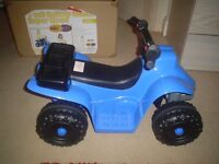 Brand new, still in box, battery operated 4 wheel quad bike for age 3+(unwanted gift). From Argos.