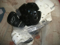 boxing gloves and sparring helmets