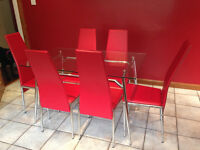 Glass Table & 6 Red Chairs