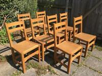 Set of 8 Heals solid oak dining chairs - great condition