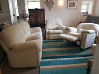 G Plan Chloe 3 seat fabric sofa, power recliner armchair plus fixed armchair.