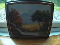 Oil on Canvas Picture in Mahogany Frame.