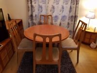 Solid Teak Extending, Dining Room Table and 4 Chairs