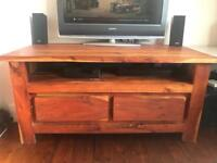 Rubber wood tv stand