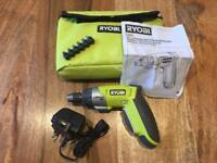 RYOBI electric screwdriver and bits.