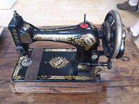 Singer Hand Crank Sewing Machine with Original Receipt, 1914