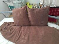 Quick sale required: Fully lined brown curtains with matching cushions