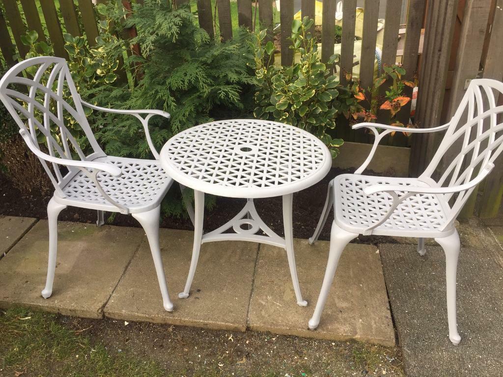 Grey cast aluminium garden bistro set