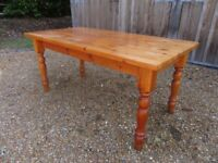 LARGE PINE KITCHEN / DINING TABLE. Delivery poss. CHAIRS, PEWS, MONKS BENCH & SETTLE ALSO FOR SALE.