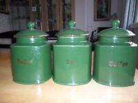 3 green storage jars