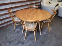 Ercol Elm & Beach drop leaf Dining table and 4 chairs super rare (model 384) (Delivery Available)
