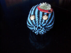 Brand New Blue and Black Striped Wild Haggis Handknitted in Scotland