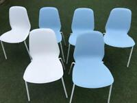 Set of 6 IKEA dining chairs BRORINGE, sturdy, 4 blue, 2 white, stackable