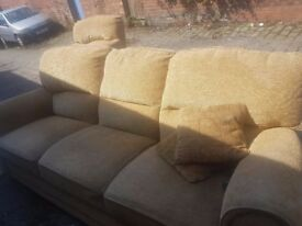 3 seater sofa and a matching chair - ochre