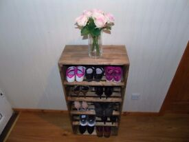 MADE TO ORDER Handmade Rustic Style Wooden Shoe Cabinet/Rack- Many Colours and Sizes!