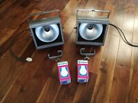 2 x Vintage Original Strand Patt 137 Theatre Industrial Stage Light Lamps + 2 x Bulbs