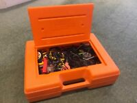 Assorted K'Nex with storage box, wheels, gears, motors etc