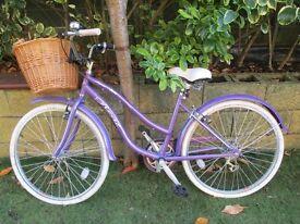 Ladies Verve Real Bike with shopping basket, helmet and lock.