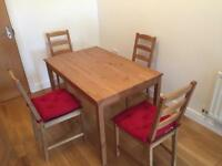 Excellent condition Ikea Jokkmokk table and 4 chairs