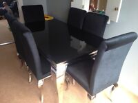 Dining room oompah table and 6 chairs plus console table