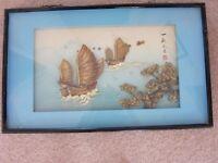 Chinese Wood Framed 3D Picture with Boat andShrubs/Flowers