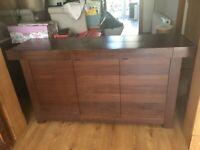 Dark Wood / Walnut 3 Door / 3 Drawer Sideboard