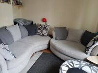 Dfs spotlight sofa cuddle sofa chair and swivel footstall