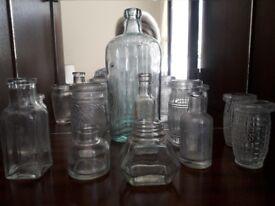 Old glass jars/bottles. A selection of old jars and bottles. £10 the lot