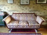 Victorian style 3 seater comfy sofa, beautifully upholstered