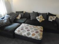 Large leather suede sofa dark brown in excellent condition.