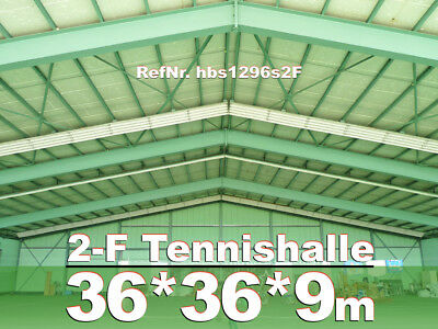 Stahlhalle 36x36x9m Tennishalle + Demontage + Re-Montage