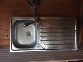 Kitchen sink , Leisure Stainless steel second hand sink complete with flexible hose tap