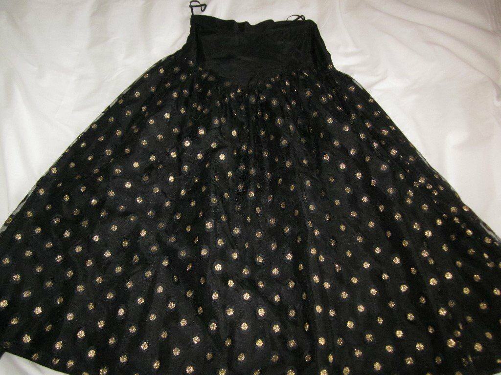 Fab for Halloween Party or Fancy Dress! Vintage Black/Gold Net Skirt