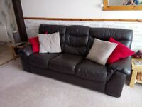 Leather 3 seater and 2 seater sofas. Comes with a leather care kit.