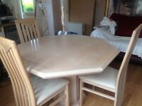 Lime oak table and chairs table expands to seat 6 with 6 chairs