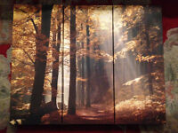 Wonderful looking 3 Piece wall picture enchanting morning woodland