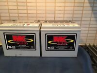 2 MK.POWER MOBILITY BATTERIES 12v 34-40ah with carrying pods