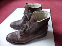 Brown real leather warm boots, size 7