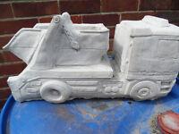 skip lorry concrete stone garden ornament
