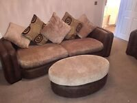 2 & 3 seater fabric couch (with footstool)