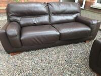 large 2 & 2 ~ luxury fultons chestnut brown leather sofas suite