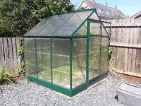 Greenhouse, 190cm x 190cm, aluminium frame with plastic windows