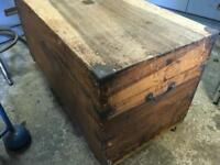 Old wooden trunk tool box