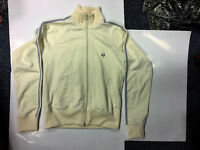Retro Fred Perry Zip Up Cream Jacket With Grey Stripes