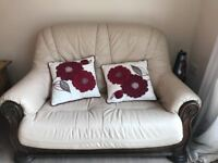 2 seater and 3 seater leather sofa