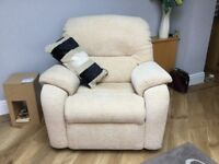 A cream 3 piece suite, includes a 3 seater and 2 seater settee plus a single chair.
